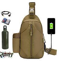 Тактическая сумка-рюкзак, барсетка, бананка на одной лямке. Кайот. T-Bag 447