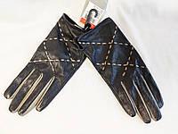 Перчатки женские черные кожаные демисезонные TJ Hughes (размер 7, М)