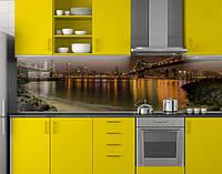 Пластиковый кухонный фартук ПВХ Берег и мосты, стеновые панели пластик скинали фотопечать для кухни коричневый