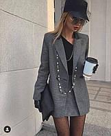 Костюм женский удлиненный пиджак и юбка, фото 1