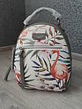 Модний маленький рюкзак жіночий міський. Рюкзак жіночий з фламінго DAVID JONES (сірий), фото 10