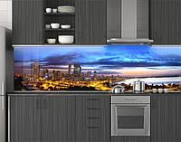 Пластиковый кухонный фартук ПВХ Ночной город, Стеновая панель для кухни с фотопечатью, Синий