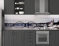 Пластиковый кухонный фартук ПВХ Арки над мостом, зимняя река, Стеновая панель для кухни с фотопечатью, Мосты