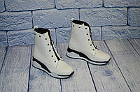 Симпатичные женские белые ботинки из кожи, размеры 36-41
