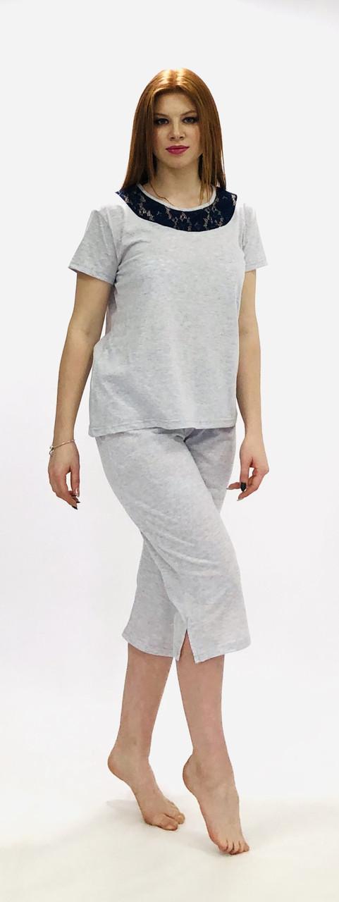 Женская трикотажная пижама футболка и бриджи больших размеров