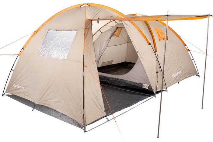 Палатка туристична чотиримісна КЕМПІНГ Tougether 4PE, бежева (420х250х160/180см)