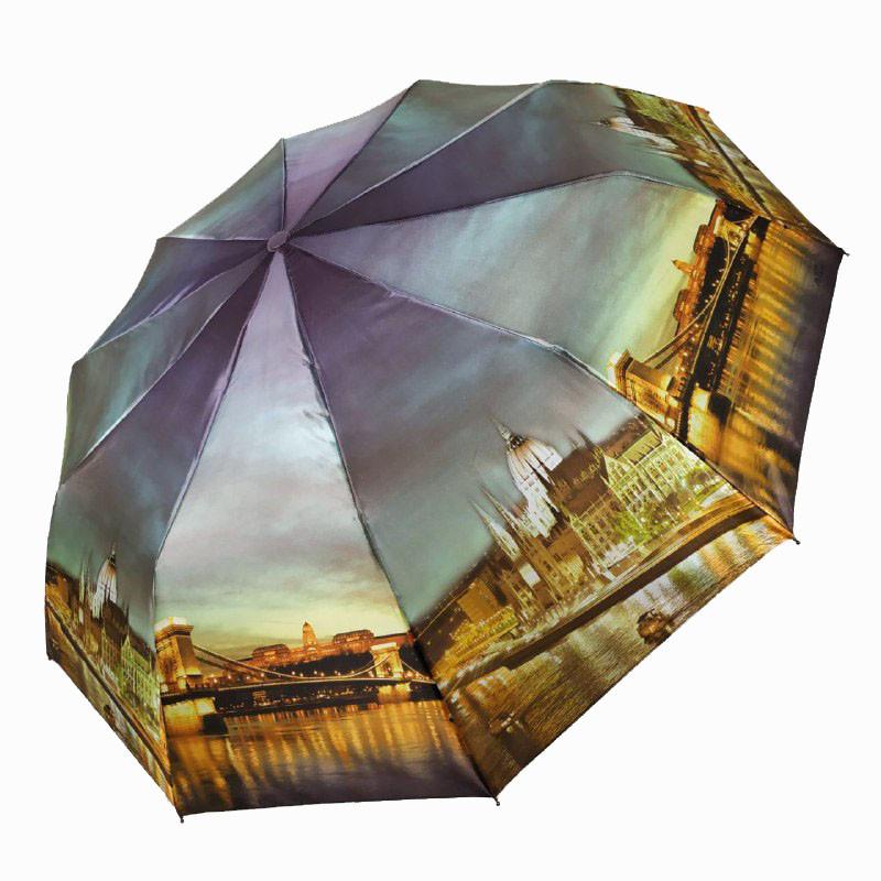 """Складаний зонт жіночий напівавтомат з системою антиветер, """"Нічне місто"""" від SL, синій, 500-3"""