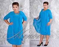 Платье женское нарядное масло+ шифон  размеры 54,56,58,60
