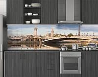 Пластиковый кухонный фартук ПВХ Мост в Париже, стеновые панели пластик скинали фотопечать для кухни, Мосты