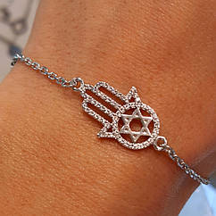 Серебряный браслет Хамса и Звезда Давида - Хамса браслет серебро родированное