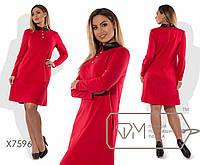 Стильне трикотажна сукня-трапеція батал з шкіряним комірцем і довгими рукавами р. 42-54. Арт-3212/23