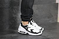 Мужские кроссовки Nike Air Max 2, кожа, сетка, замша, пена, белые с черным 44 (28 см)