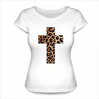 Футболки женские с нанесением рисунков в виде креста леопардовый принт