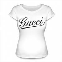 Женская футболка с надписью Gucci белая модная