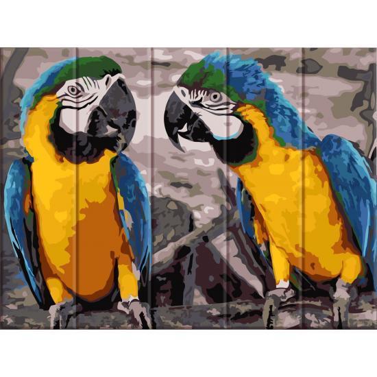 Картина по номерам на дереве 2 попугая, 30x40 см., Art Story