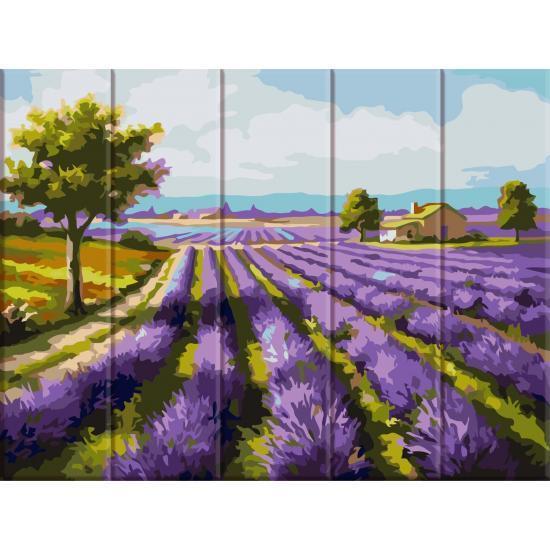 Картина за номерами на дереві Лавандове поле, 30x40 см Art Story