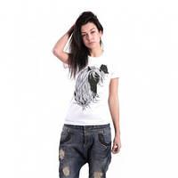 Оригинальная женская футболка, с рисунком Лошадь