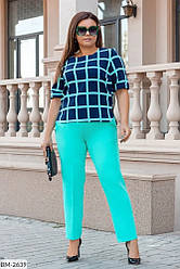 Нарядный и яркий костюм-двойка с блузой и брюками Размеры: 48-50, 52-54, 56-58, 60-62