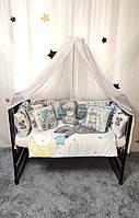 """Комплект постельного белья """"Тедди"""" бортики-подушки с балдахином и подушка-игрушка. Голубой"""