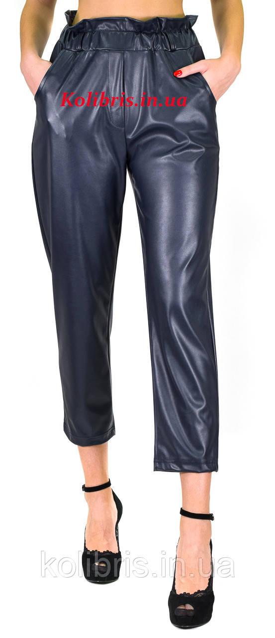 Кожаные штанишки момы эко-кожа синего цвета