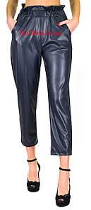 Шкіряні штанці моми еко-шкіра синього кольору