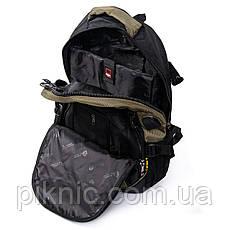 Рюкзак городской, мужской Power In Eavas отдел для ноутбука + USB, кабель для наушников. Черно-зеленый, фото 2
