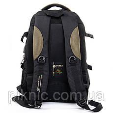 Рюкзак городской, мужской Power In Eavas отдел для ноутбука + USB, кабель для наушников. Черно-зеленый, фото 3