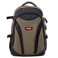 Рюкзак міський, чоловічий Power In Eavas відділ для ноутбука + USB, кабель для навушників. Чорно-зелений
