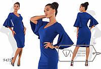 Элегантное строгое приталенное платье с воланом на рукаве и разрезом сзади р.42-54. Арт-3216/23, фото 1