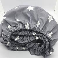 """Дитяча простинь на резинці Солодкий Сон 60х120+10 см. """"Зірочки"""" колір сірий, фото 1"""