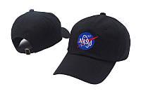 Кепка NASA стильная летняя хлопковая с логотипом чёрная мужская женская бейсболка наса