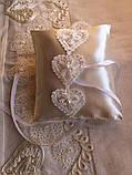 Свадебная подушка для обручальных колец Hearts, фото 2