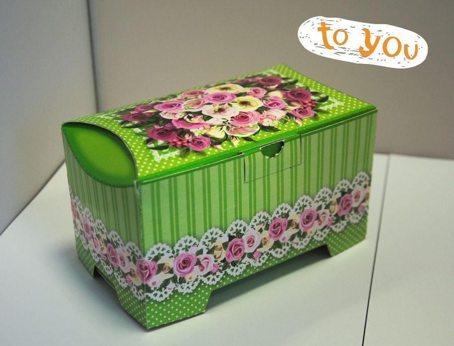 Картонная упаковка для кондитерских изделий Сундучок Розы мятний, 150-300г