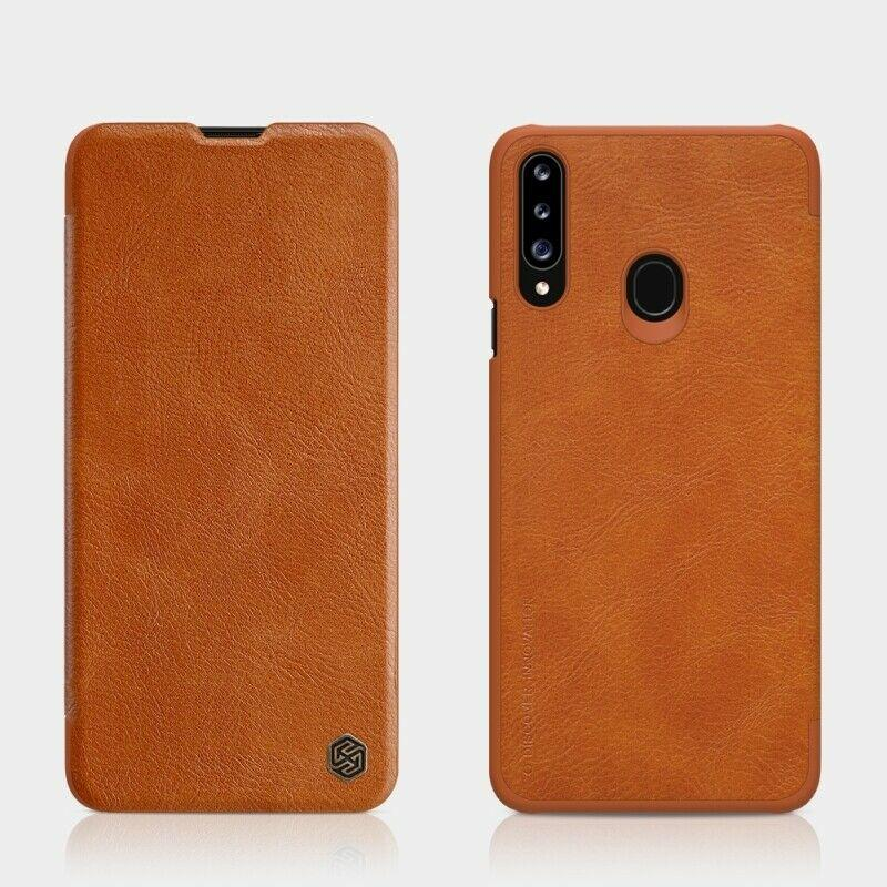 Nillkin Samsung Galaxy A20s Qin leather Brown case Кожаный Чехол Книжка