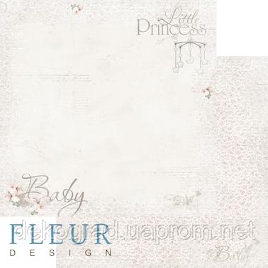 """Лист бумаги для скрапбукинга """"Малыш"""", коллекция """"Наш малыш Девочка"""", 30х30, плотность 190 гр."""