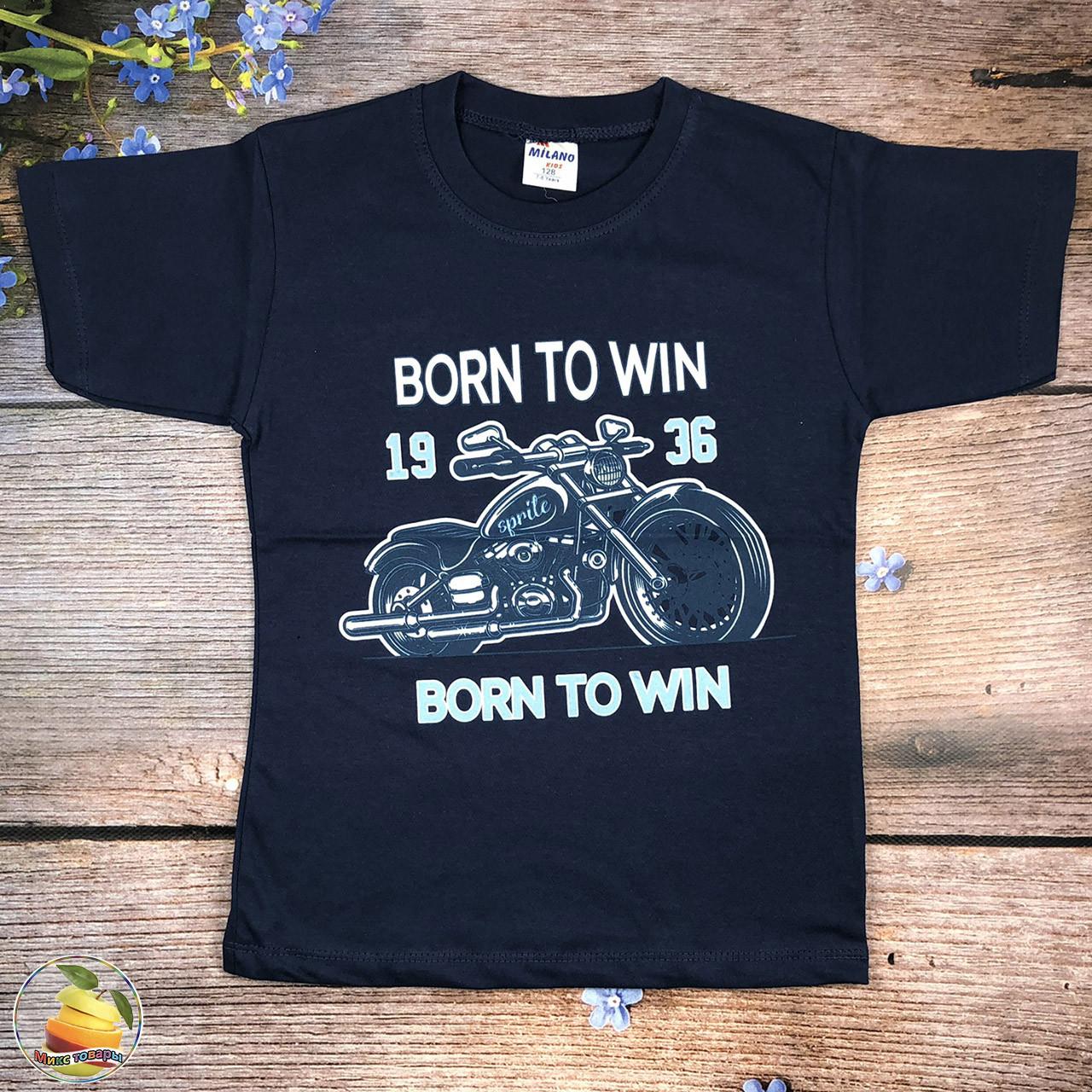 Подростковая футболка с мотоциклом Размеры: 128,140,152,164,176 см (20086-1)