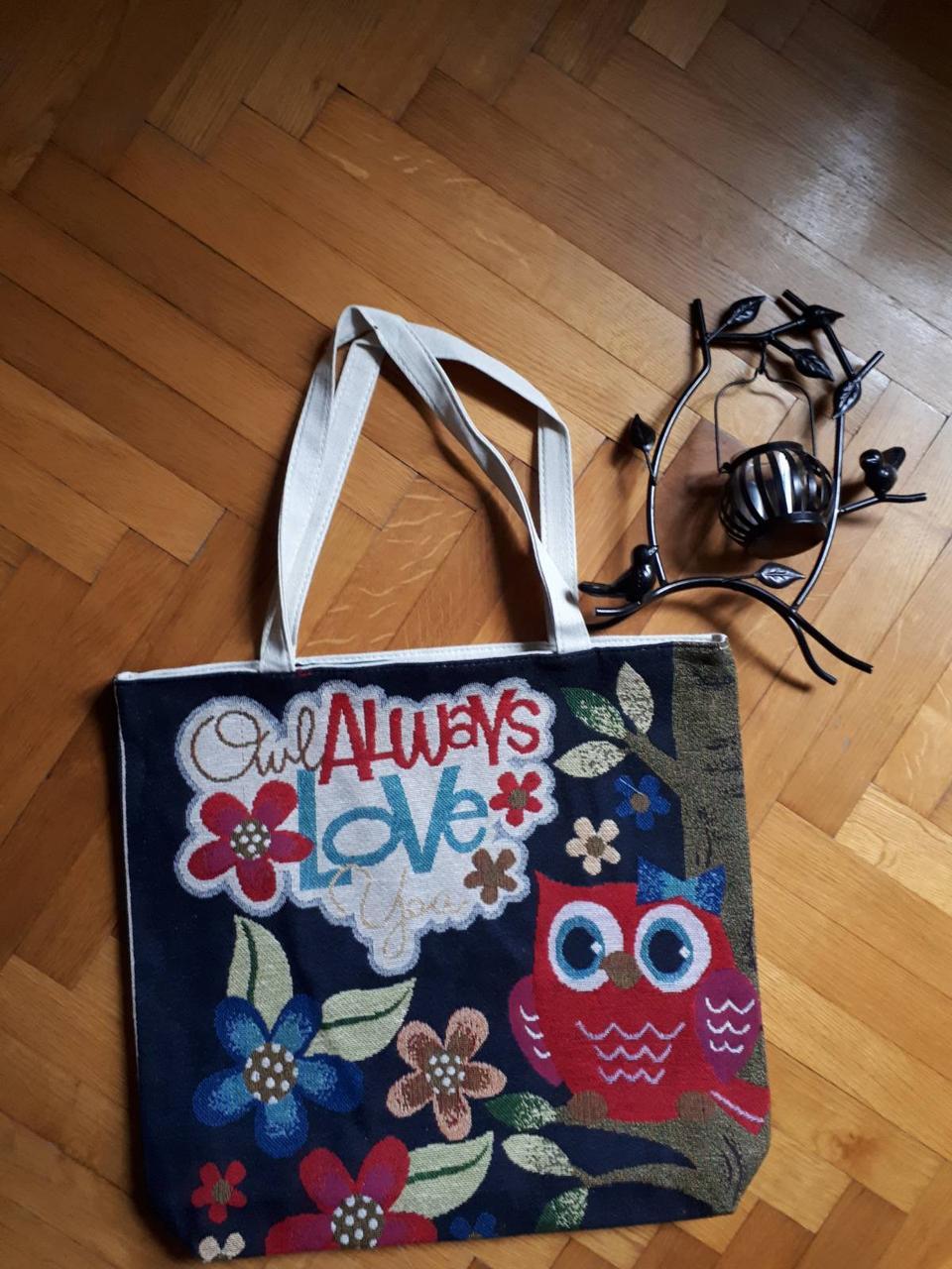 """Пляжная, текстильная сумка """"Совушки"""", прогулочная, с подкладом, один основной отдел, длинные ручки."""