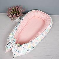 Кокон гнездышко со сьемным чехлом, кроватка для новорожденных, люлька, бортики, кроватка 0-9месяцев, фото 1