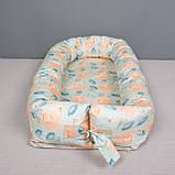 Кокон гнездышко со сьемным чехлом, кроватка для новорожденных, люлька, бортики, кроватка 0-9месяцев, фото 2