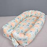 Кокон гнездышко со сьемным чехлом, кроватка для новорожденных, люлька, бортики, кроватка 0-9месяцев, фото 3
