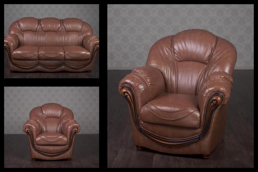 Комплект мягкой мебели Мальта (кожа) Курьер