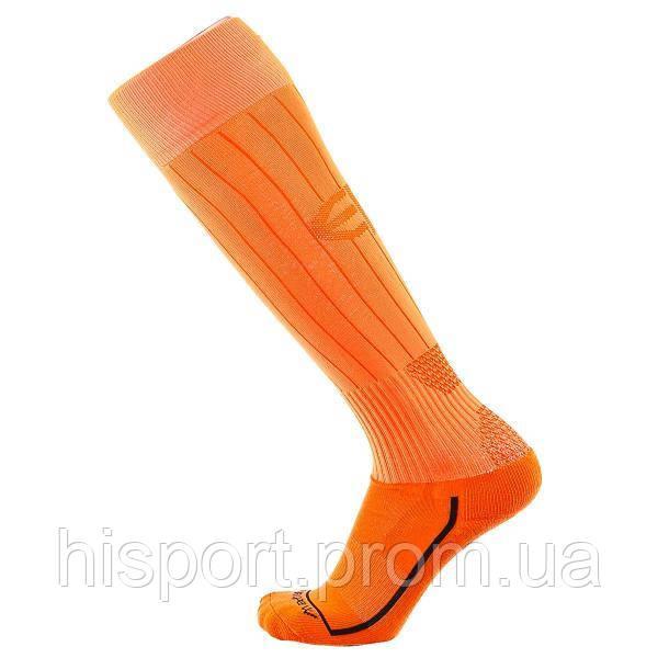Футбольные гетры игровые однотонные ярко оранжевые с трикотажным носком Europaw