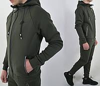 В наличии:ХL,XXL  Утепленный спортивный костюм Nike с капюшоном / трикотаж трехнитка /  - хаки