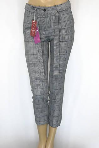 Жіночі сірі літні брюки в клітинку, фото 2