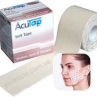 Кинезио тейп для лица, чувствительной кожи, детей AcuTop Soft Tape 5см*5м, кремовый, Германия