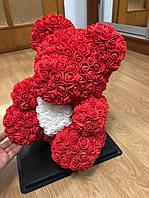 Мишка из 3D роз 40 см Красный | В подарочной упаковке.  Оригинальный подарок к дню влюбленных.
