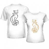 Парные футболки для влюблённых с принтами Кот и Кошка