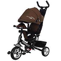 Велосипед коляска трехколесный с родительской ручкой и игровой панелью TILLY TITAN Тилли Титан T348 Коричневый