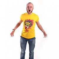 Мужская футболка, летняя, жёлтого цвета, рисунок Дракон