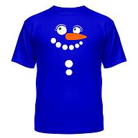 Футболка молодёжная хлопковая яркий принт на груди Снеговик
